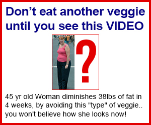 Image with a fat woman saying don't eat another veggie until you see this video